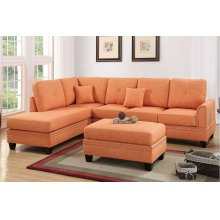 Orange Reversible Chaise Sectional with Ottoman Included