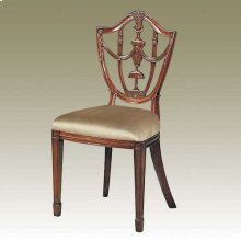 CARVED POLISHED MAHOGANY FINIS H HEPPLEWHITE SHIELD BACK SIDE CHAIR, NEUTRAL UPH
