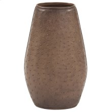 Walnut Brown Faux Leather Ostrich Vase, Large