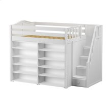 High Loft w/ Staircase & 2 x 5 Shelf Bookcases : Full : White : Curved