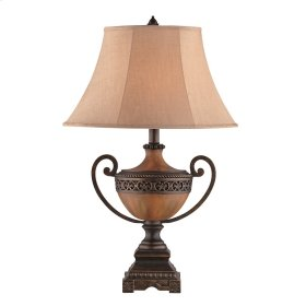 Burnished Wood Urn Table Lamp