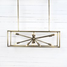 Antique Brass Finish Jaxon Rectangular Chandelier