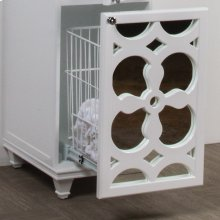 Preinstalled add-on internal steel wire hamper with full-extension slides to best fit the vanity size.