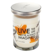 """Live the Life You've Always Imagined"" 10.4 oz. Apricot Peach Scented Candle Jar."