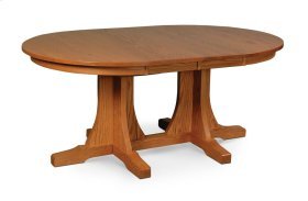 Prairie Mission Double Pedestal Table, Solid Top