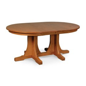Prairie Mission Double Pedestal Table, 2 Leaf