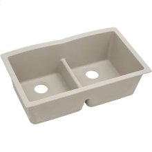 "Elkay Quartz Classic 33"" x 19"" x 10"", Equal Double Bowl Undermount Sink with Aqua Divide, Putty"
