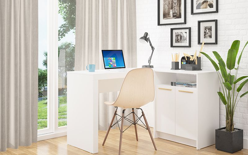 Kalmar L -Shaped Office Desk with Inclusive Cabinet in White