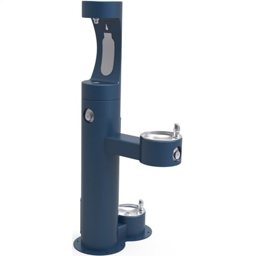 Elkay Outdoor EZH2O Bottle Filling Station Bi-Level, Pedestal with Pet Station Non-Filtered Non-Refrigerated Blue
