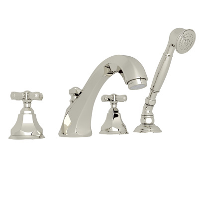 Polished Nickel Palladian 4-Hole Deck Mount Tub Filler With Handshower with Palladian Metal Lever
