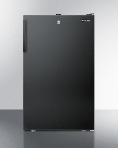 """Commercially Listed 20"""" Wide Counter Height Refrigerator-freezer With A Lock and Black Exterior"""