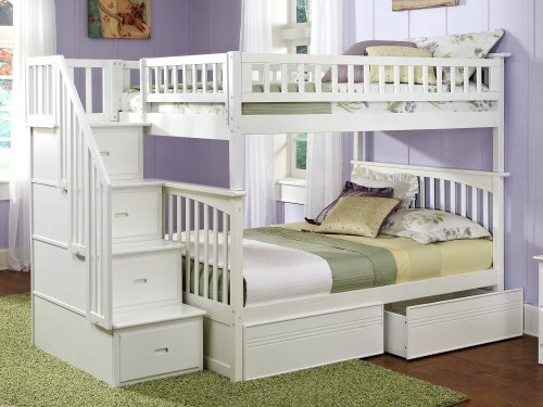 Columbia Staircase Bunk Bed Full over Full with Flat Panel Bed Drawers in White