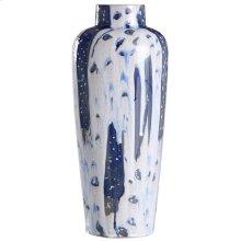 Romani Blue  20In Ceramic Vase In Reactive Glaze