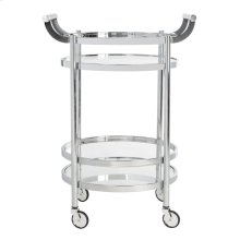 Sienna 2 Tier Round Bar Cart - Chrome