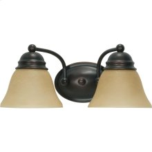 2-Light Wall Mounted Vanity Light Fixture in Mahogany Bronze Finish with Champagne Linen Glass