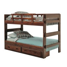 Heartland 2 x 6 Split Bunk Bed with options: Chocolate, Twin over Twin, 2 Drawer Storage