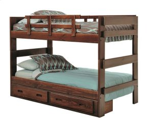 Heartland 2 x 6 Split Bunk Bed with options: Chocolate, Twin over Twin, Twin Trundle