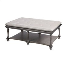 Pontillo Grey Finish With Black Base and Legs and Grey Wirebrush Shelf Traditional Ottoman