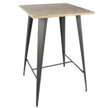 Oregon Bar Table - Grey Metal, Bamboo
