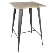 Oregon Bar Table - Grey Metal, Bamboo