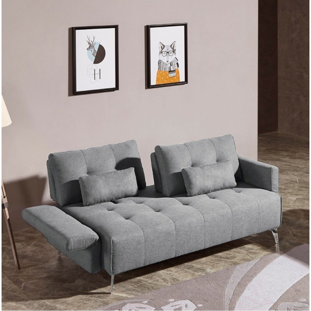 Divani Casa Alcoa Modern Contemporary Grey Tufted Fabric Sofa w/ Adjustable Backrest and Movable Armrests