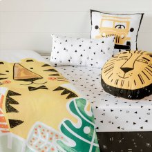 6-Piece Baby Bedding Set: bed skirt, sheet and 3 decorative pillows Baby Tiger - Black and White