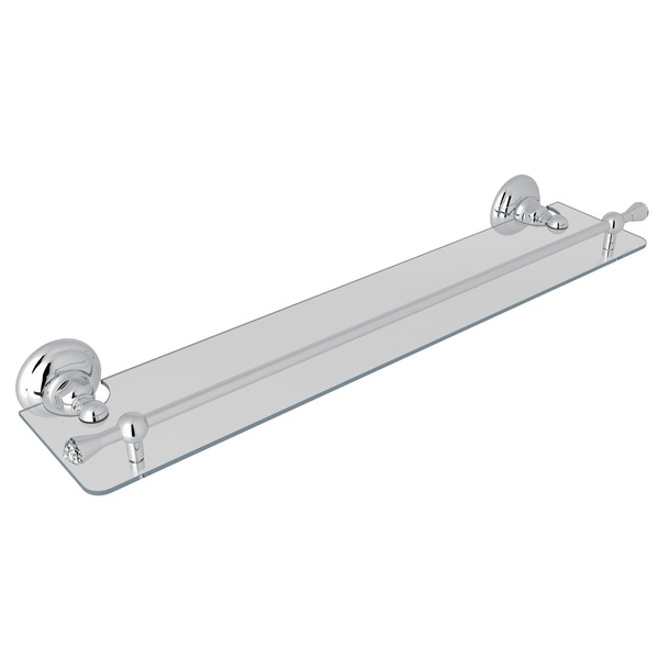 "Polished Chrome Italian Bath 24"" Glass Vanity Shelf"