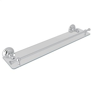 "Polished Chrome Italian Bath 24"" Glass Vanity Shelf Product Image"