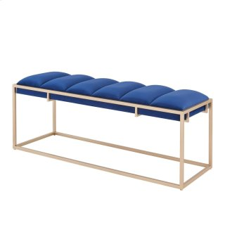 Brooklyn Velvet Fabric Bench Champagne Frame, Serene Dark Blue