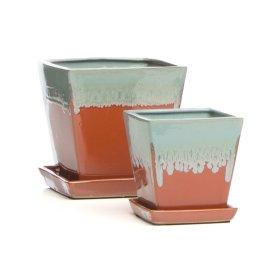 Pippa Petits Pots w/ attached saucer, Spa/Orange - Set of 2 (Min 4 sets)