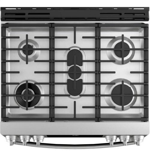 "GE Profile™ Series 30"" Dual Fuel Slide-In Front Control Range"