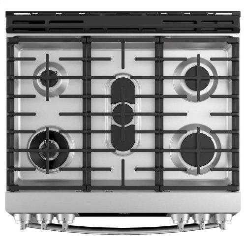 "GE Profile™ 30"" Smart Dual Fuel Slide-In Front-Control Range"
