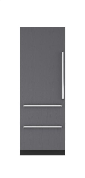 "30"" Integrated Over-and-Under Refrigerator/Freezer with Ice Maker and Internal Dispenser - Panel Ready"