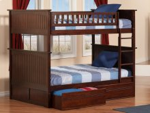 Nantucket Bunk Bed Full over Full with Flat Panel Bed Drawers in Walnut