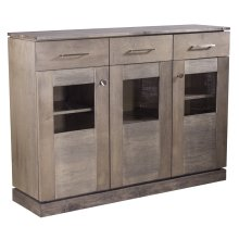 "Maple Transitional Credenza With ""floating"" Top and Base, 3 Doors With Glass Windows, 3 Drawers Brushed Nickel Handles and Knobs 1 Fixed Center Shelf and 4 Adjustable Shelves"