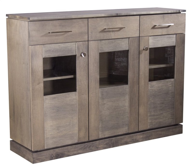 Maple Transitional Credenza With Floating Top And Base 3 Doors Gl Windows