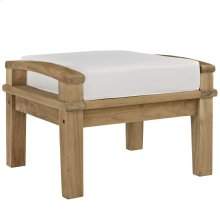 Marina Outdoor Patio Teak Ottoman in Natural White