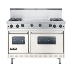 "Cotton White 48"" Open Burner Commercial Depth Range - VGRC (48"" wide, four burners 24"" wide griddle/simmer plate)"