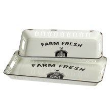 "Decorative ""Farm Fresh"" Enamel Tray (2 pc. set)"
