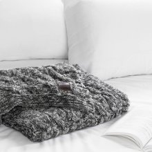 Cable-Knit Throw Blanket - Gray