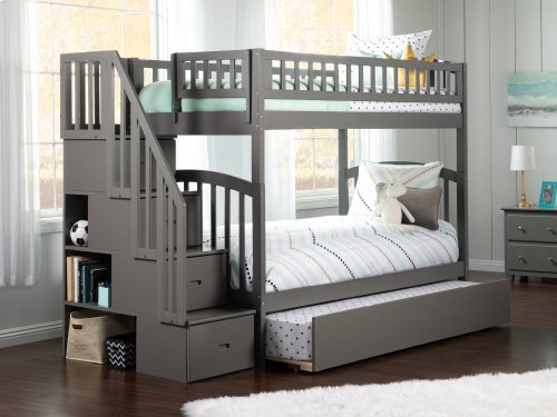 Westbrook Staircase Bunk Bed Twin over Twin with Urban Trundle Bed in Atlantic Grey