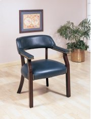 GUEST CHAIR,NAVY VINYL ,MAHOGANY Product Image