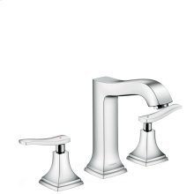Chrome Widespread Faucet 160 with Lever Handles and Pop-Up Drain, 1.2 GPM