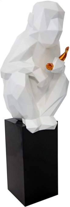 Monkey with Banana Large Sculpture - White and Gold Product Image