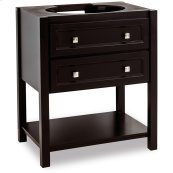 "30"" vanity with sleek black finish and clean lines, and complementary satin nickel hardware"
