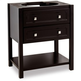 "30"" vanity base with Black finish, clean lines, and complementary satin nickel hardware."