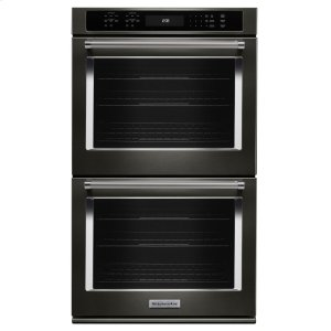 "KitchenAid27"" Double Wall Oven with Even-Heat True Convection - Black Stainless Steel with PrintShield™ Finish"
