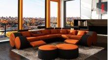 Divani Casa 3087 - Modern Orange and Black Bonded Leather Sectional Sofa & Coffee Table