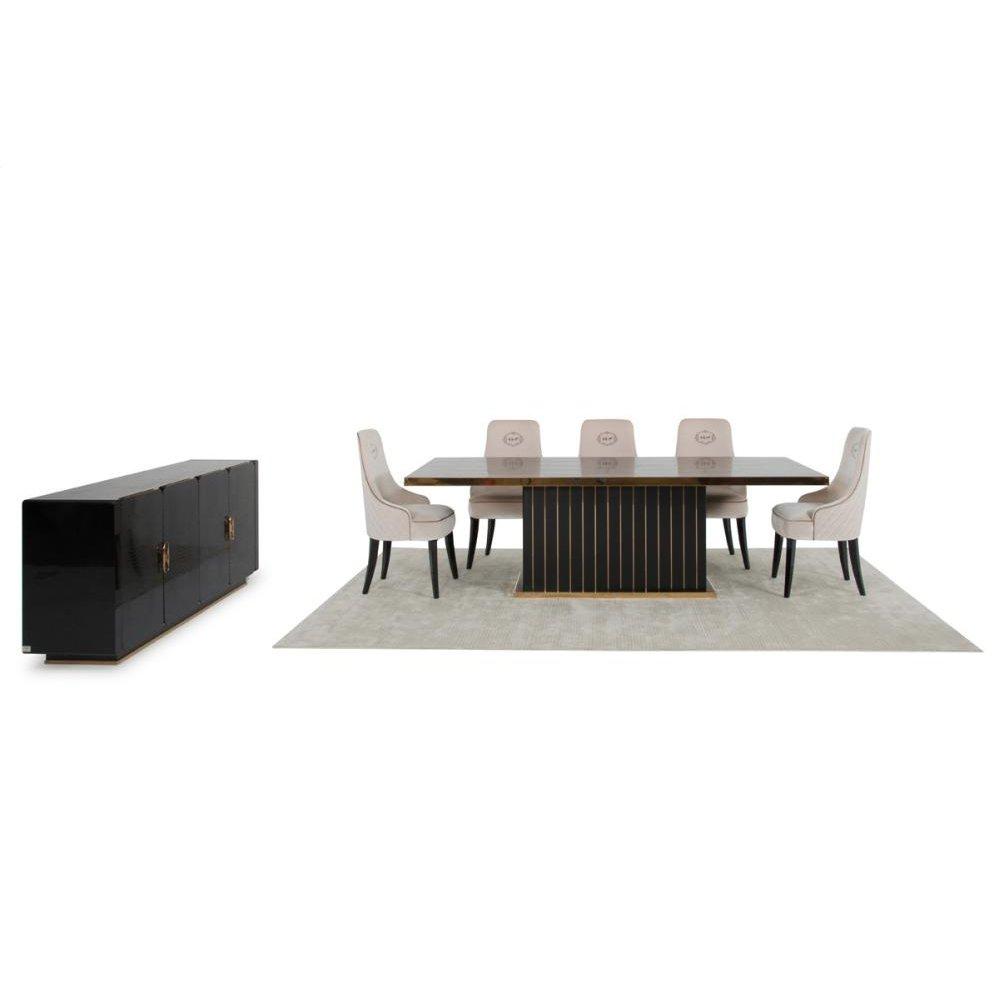 A&X Talin Modern Black & Rosegold Dining Set