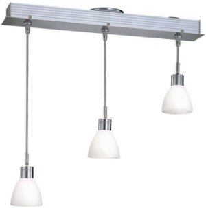 3-lite Ceiling Lamp, Ps W/frost Glass Shade, Mr16 35wx3